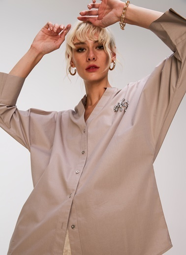 People By Fabrika Taş İşlemeli Poplin Gömlek Bej
